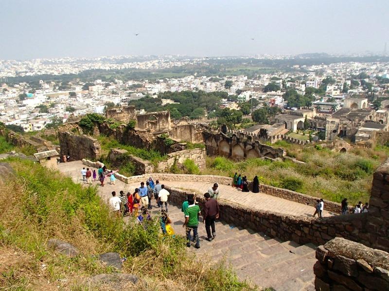 View over city below