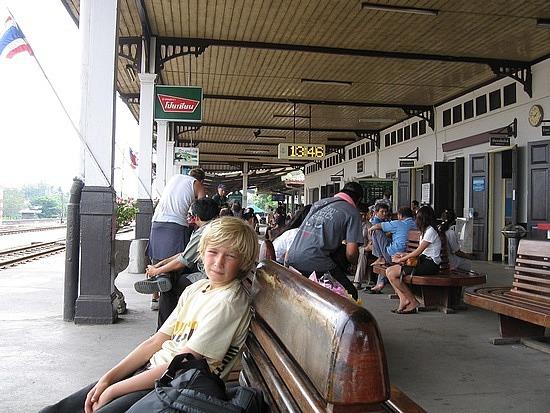 Waiting at the train station