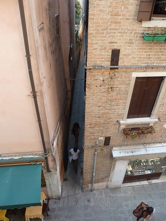 View from window in Venice looking into one of the