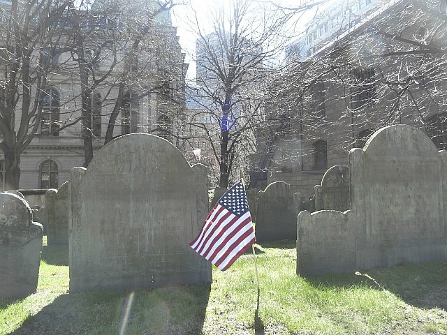 Flag and tombstones