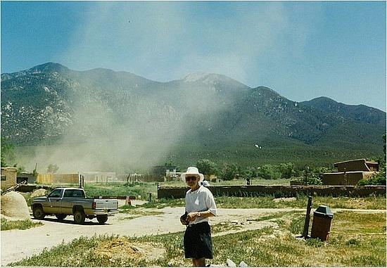 Dust storm at Taos Pueblo