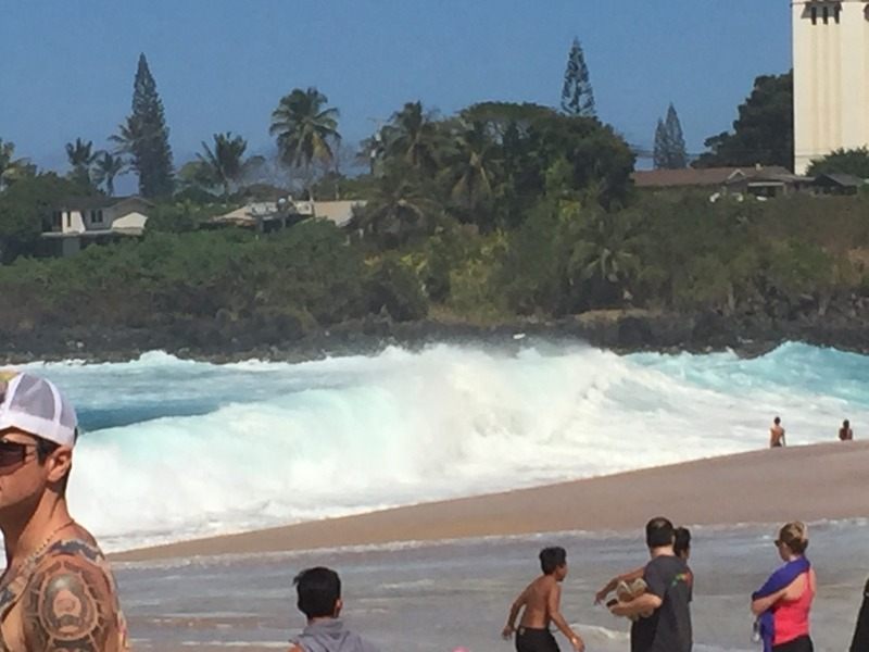 Huge amount of white water that raced up the beach