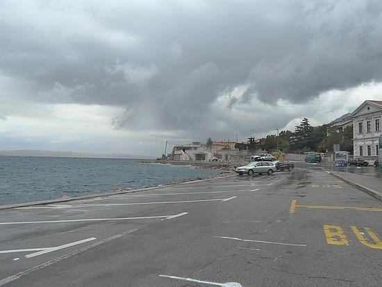 Rainy little coastal town