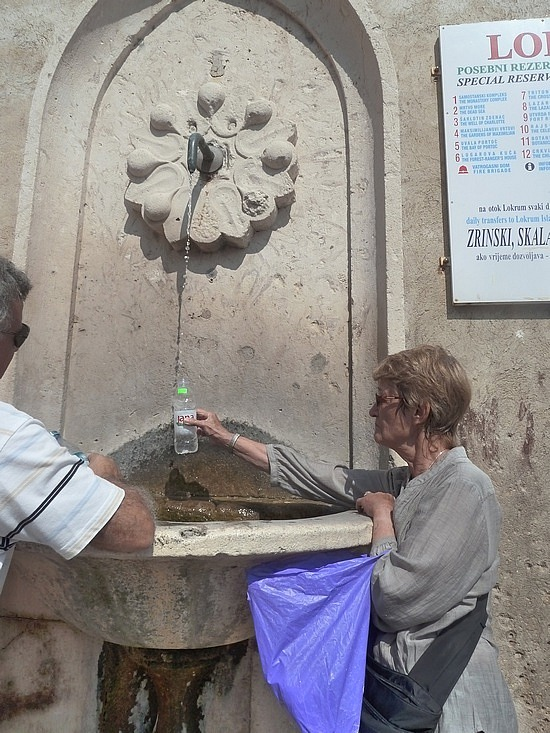 Mum at fountain