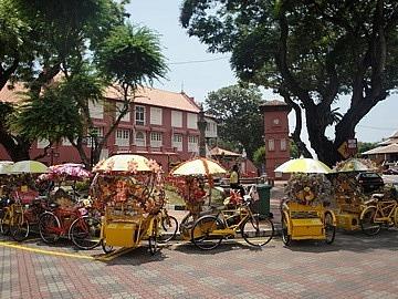 Brightly coloured Trishaws