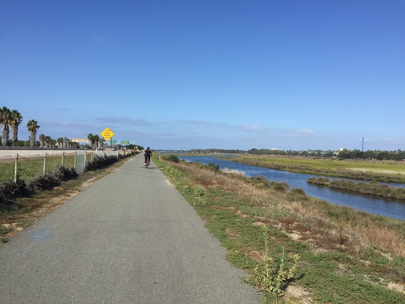 Riding the river trail to Mission Bay