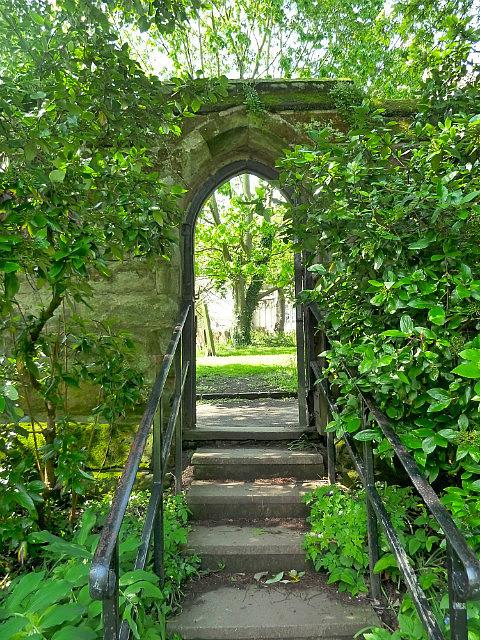 Secret doorway into church yard