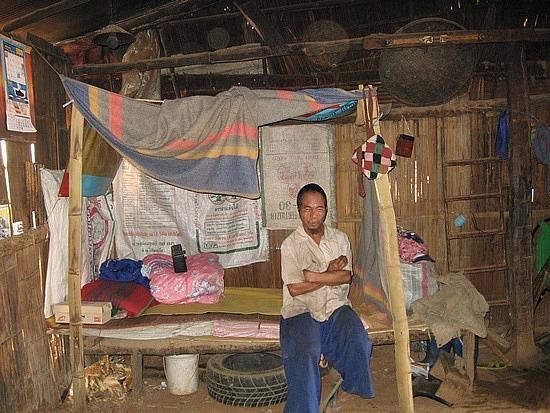 Inside a villagers hut
