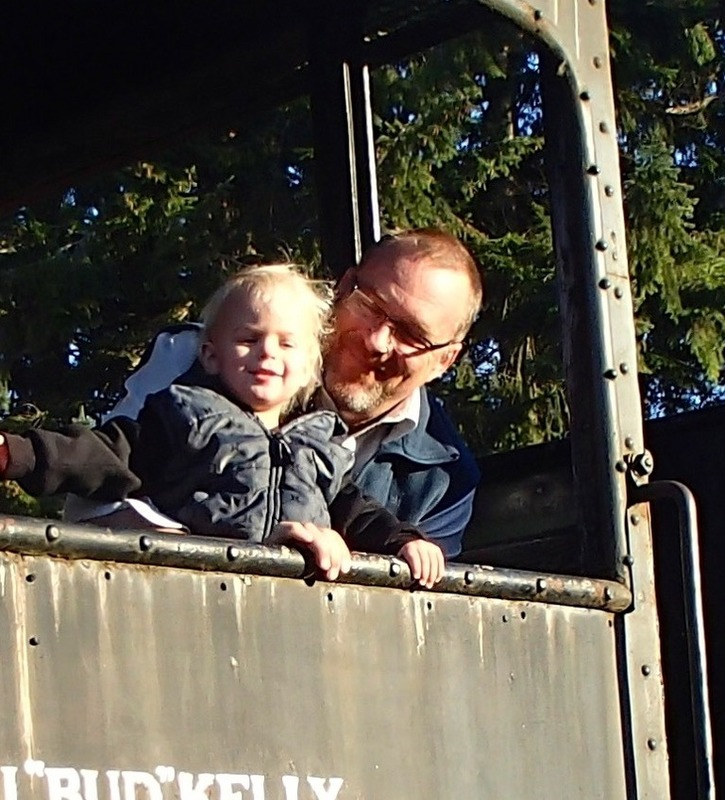 Papa and Ezra on the train restaurant