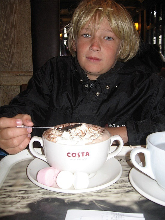 Trying to warm Nath with hot chocolate