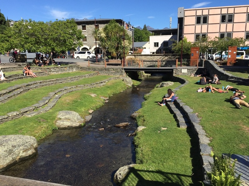 Park and stream in town