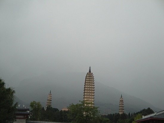 The Three Pagodas in the mist