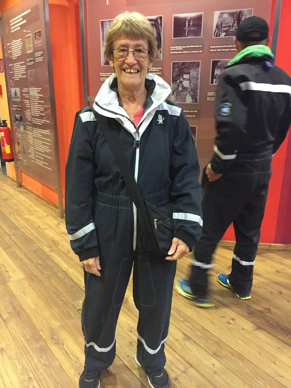 Mum in her Miners suit at Salt Mines