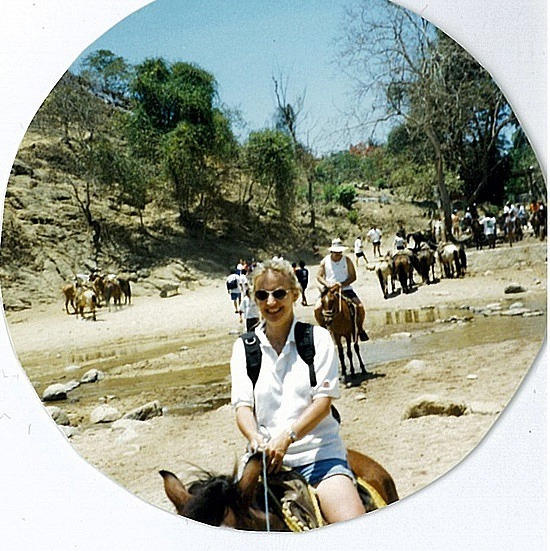 Me on a  horse - never enjoy it!!!