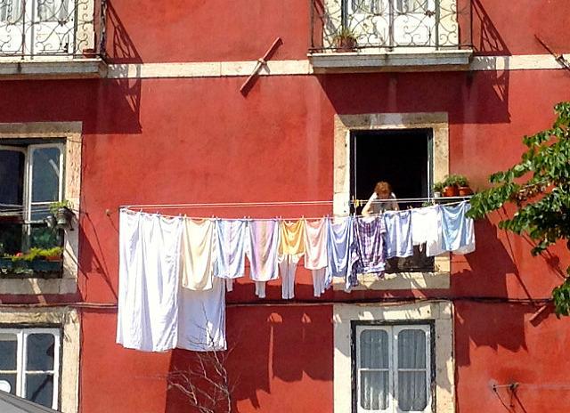Hanging out her washing