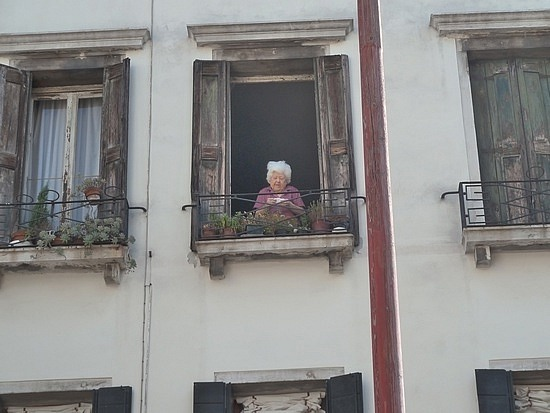 Old lady at a window