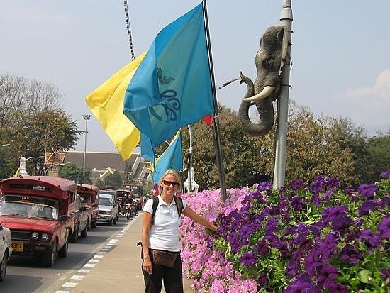 Flowers & flag on the bridge