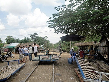 Assembling the Bamboo Train on the track