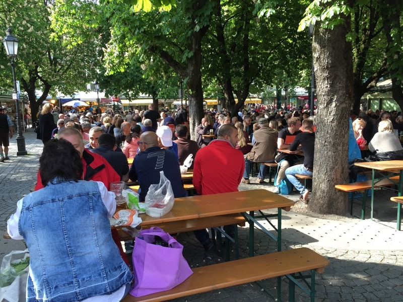 Beer gardens in the market were packed