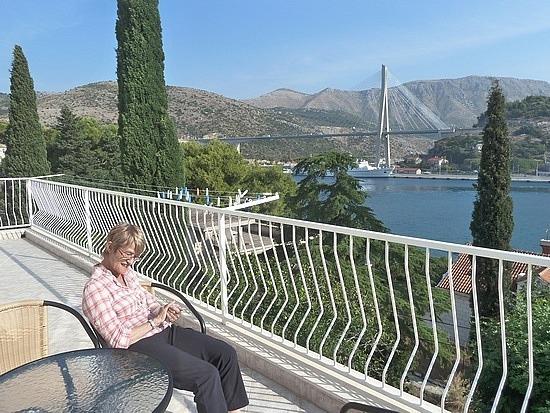 Mum enjoying our balcony