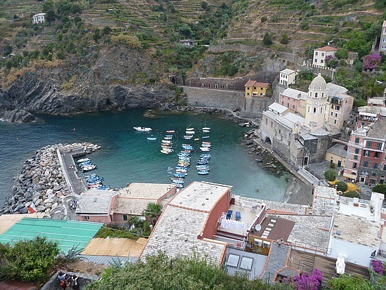 Venazza Harbour and church