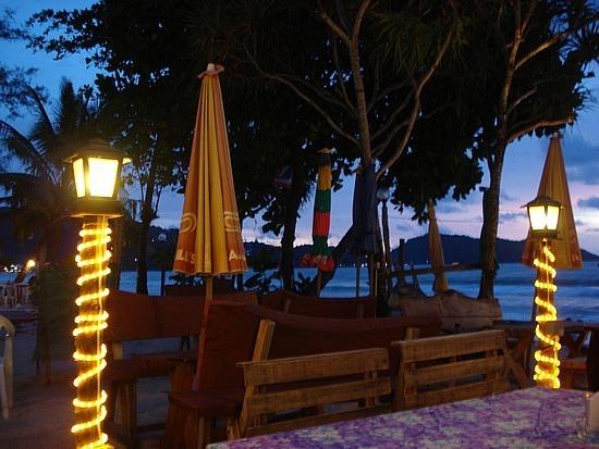 Beach restaurants all lit up