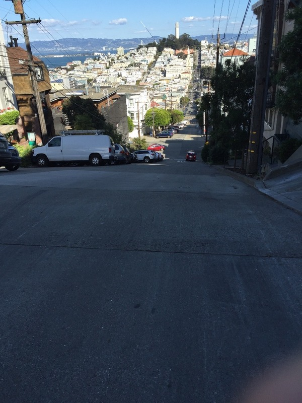 Steep hills looking to Coit Tower