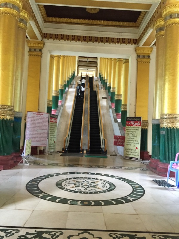 Escalators up to the pagoda - no shoes allowed