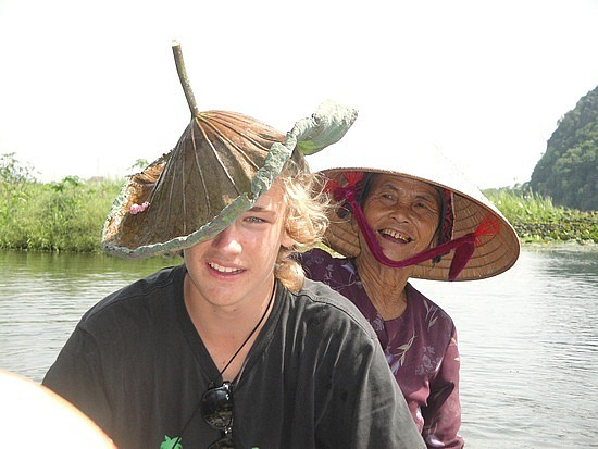 Nath with his lily pad hat