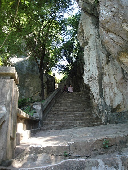 Many stairs to go up Marble Mountain
