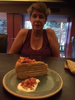 Trying the local honey cake- very good!