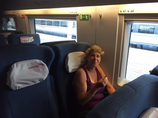 Shelley (looking good for being born in '41) settling in on train