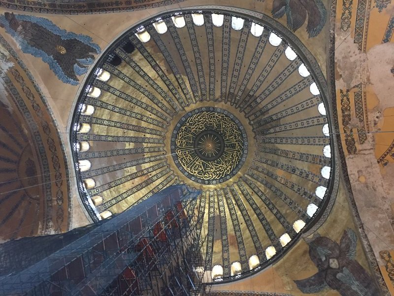 One of the many amazing ceilings in the Hagia Sophia