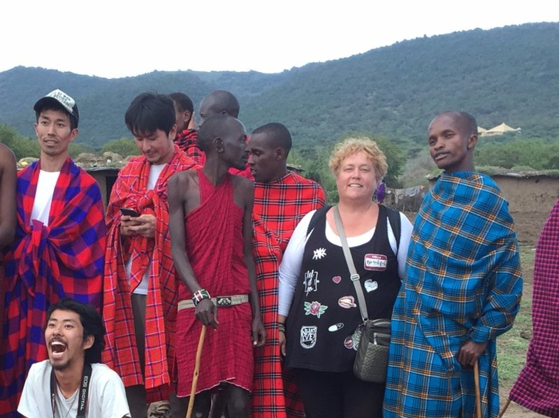 Our safari group in Maasai village