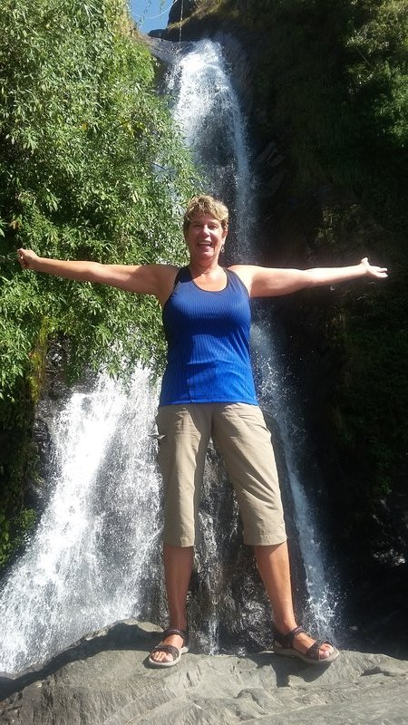 Shelley in front of Bhagsu falls