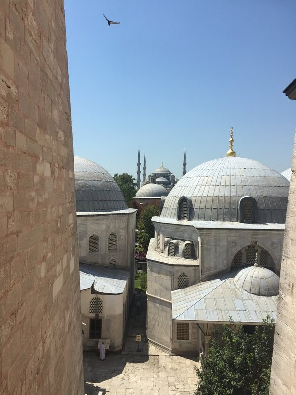 Picture of Blue Mosque taken from upstairs window in Hagia Sophia