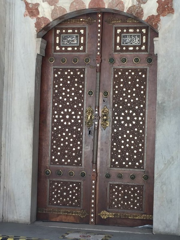 Mother of pearl inlay on door outside of tomb
