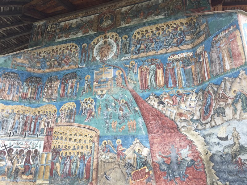 Exterior wall of Voronet monastery