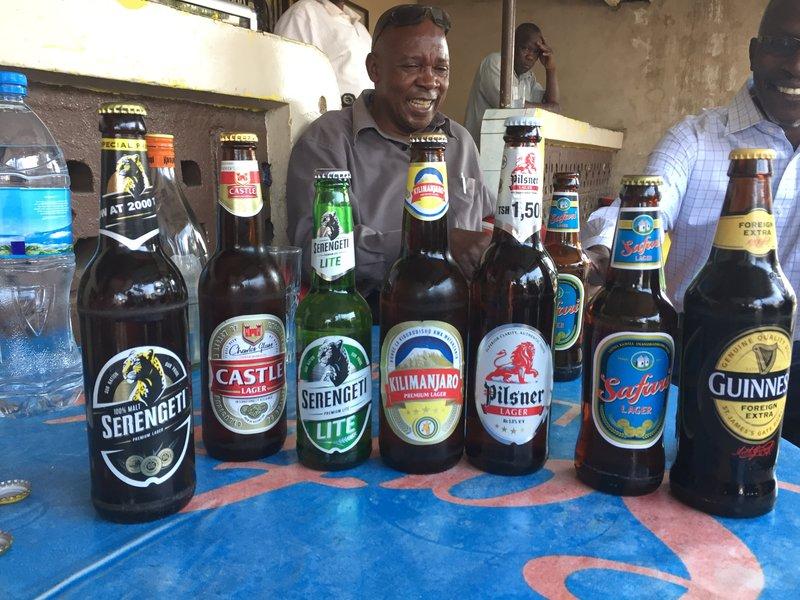 Tanzanian beer selection