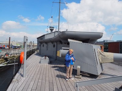 """Karen and one of the 4"""" guns"""