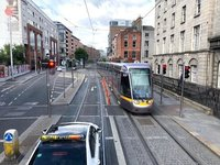 The Luas in downtown Dublin