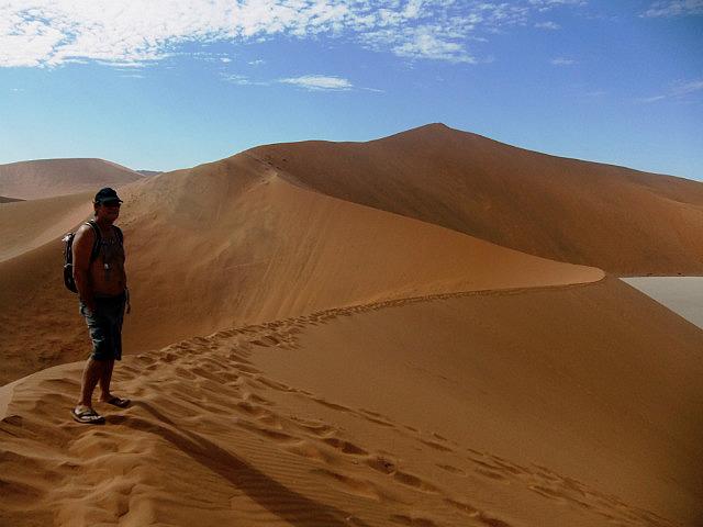 Walking the dunes at Sossus Vlei