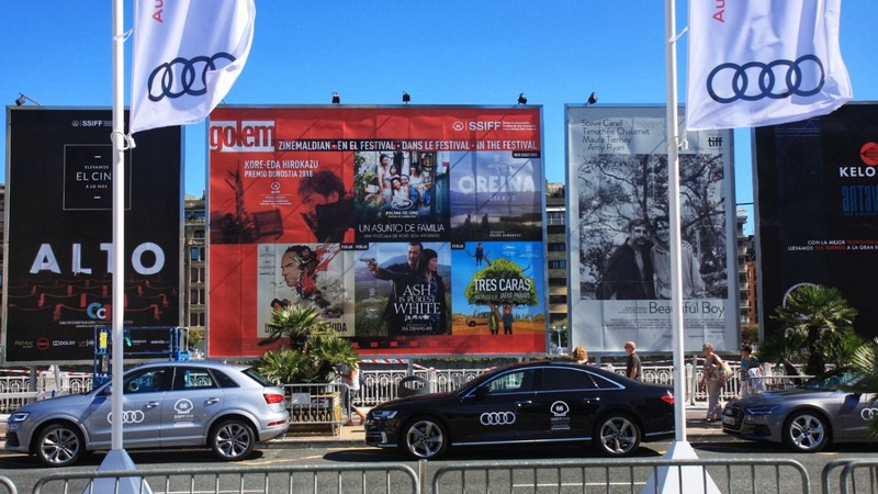 San Sebastian International Film Festival was on - billboard of movies - and Audis waiting to ferry VIPs