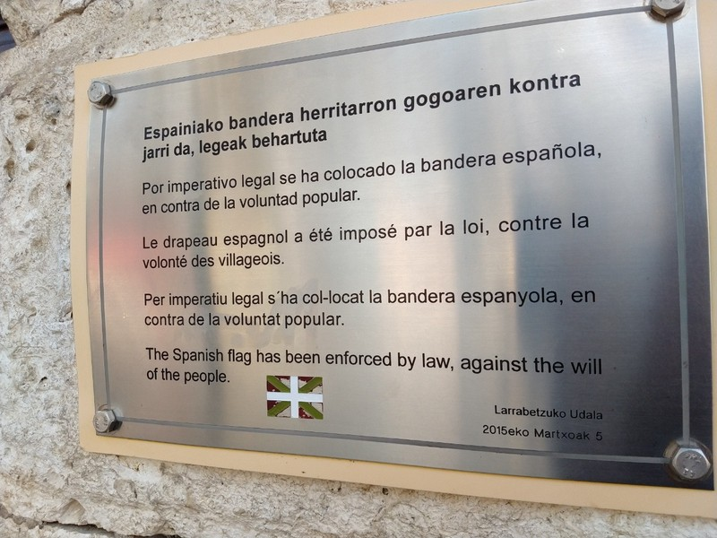 The Basque flag is a no-no - by law (see bottom line if other lines don't read too easily)