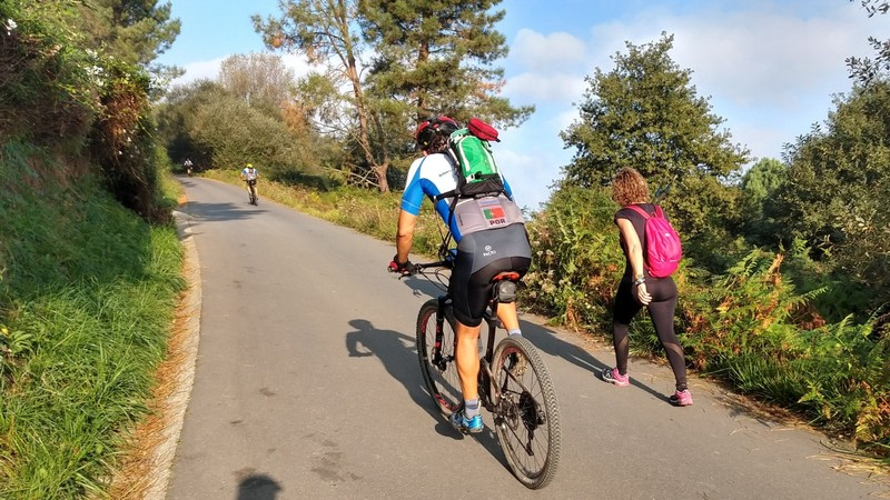 Quite a number of offroad cyclists in Spain - more so than in France. These two part of a group riding Bilbao to Santiago over seven days
