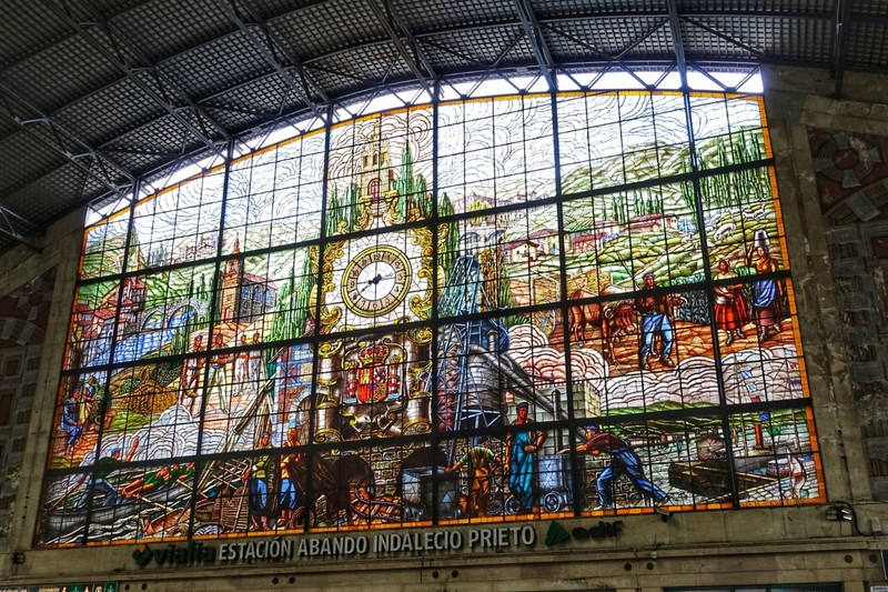 Bilbao Station - motifs of the life and customs of the city.
