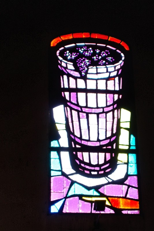 Wine press coloured glass window - not quite the subject we're accustomed to - Bodega Ontañón