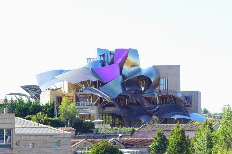 Marques de Riscal winery and hotel in Elciego - building designed by Frank Gehry (designer of Guggenheim Museum, Bilbao; Walt Disney Concert Hall; Louis Vuitton Fondation) - see https://www.architecturaldigest.com/gallery/best-of-frank-gehry-slideshow