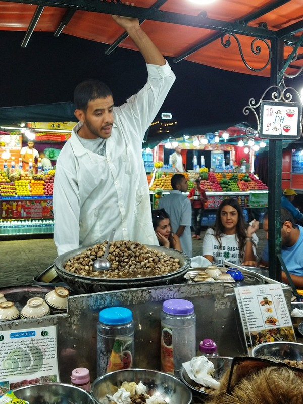 Marrakech street-food stall - anyone for snails?