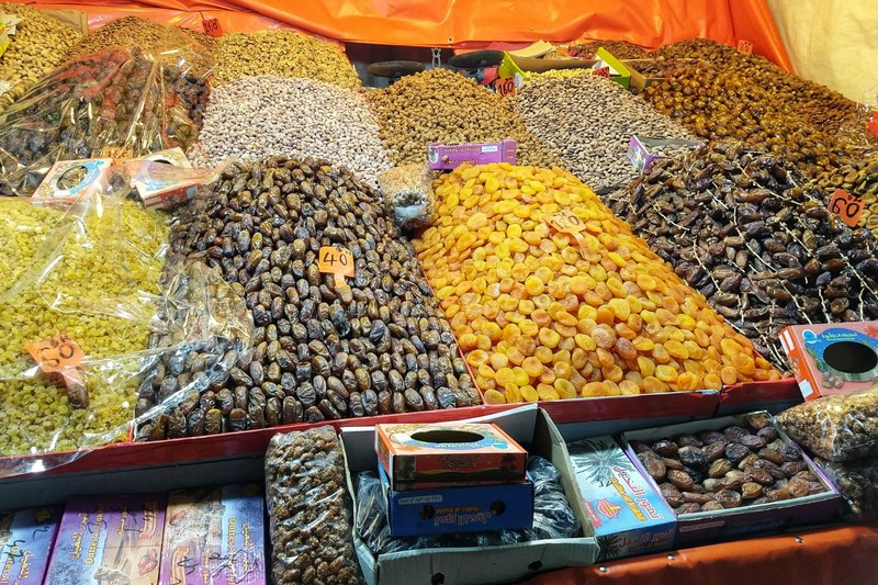 Marrakech souk - note the variety of dates - up to 300 different types in Morocco